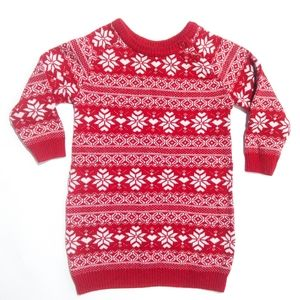 ❄6-12M Sweater Dress | Red Nordic Pattern